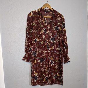 Zara Floral Button Front Duster